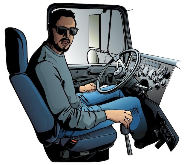Motorista de caminhão profissional dirigindo veículo de caminhão