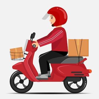 Motorista de entrega de moto com vestido vermelho