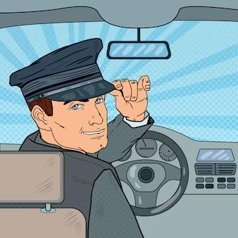 Motorista de limusine dentro de um carro