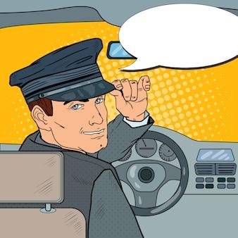 Motorista de limusine em uniforme dentro de um carro