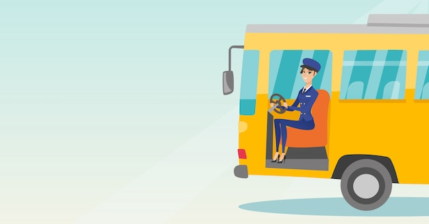 Motorista de ônibus caucasiano que senta-se no volante.