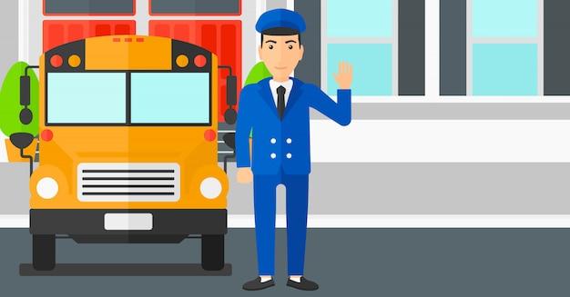 Motorista de ônibus escolar.