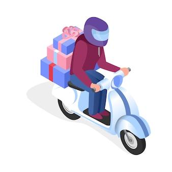 Motorista de scooter com ilustração isométrica de presentes