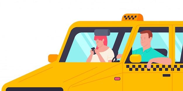 Motorista de táxi com um passageiro no carro. ilustração de desenho vetorial com homem e mulher com telefone isolado