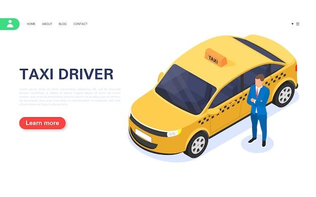 Motorista de táxi da cidade. um homem está ao lado de um carro em um fundo branco. ilustração isométrica do vetor.