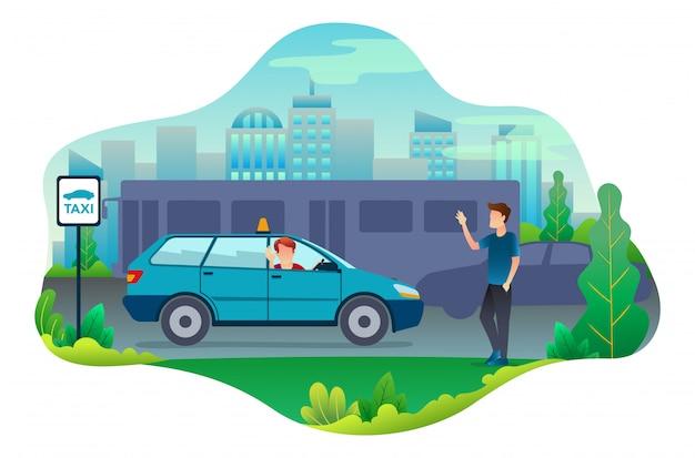 Motorista de táxi encontrar um cliente após a pesquisa.