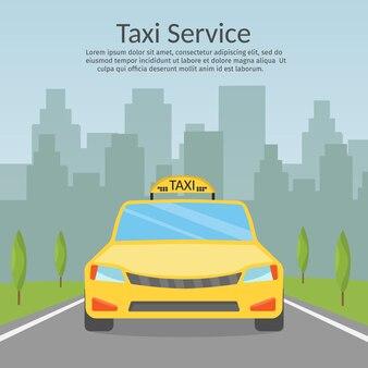 Motorista de táxi ligue com serviço de smartphone a ilustração de estilo simples da cidade