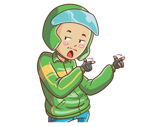 Motorista de táxi online está tudo bem ilustração estilo de coloração de desenho animado desenhado à mão