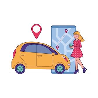 Motorista do sexo feminino usando o serviço de compartilhamento de carro