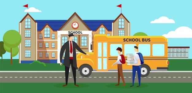Motorista e alunos em pé perto de ônibus escolar.