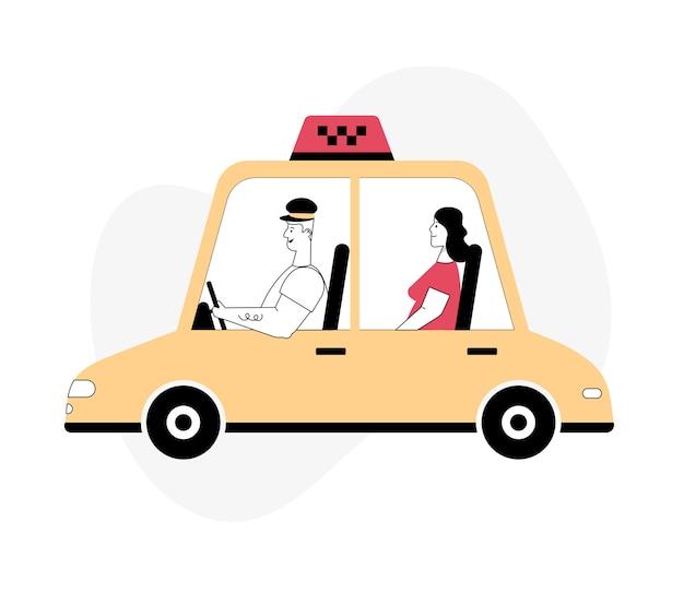 Motorista e passageiro na vista frontal e lateral do carro táxi online ou aluguel de conjunto de transporte serviço de táxi cidade em movimento segurança rodoviária profissão moderna