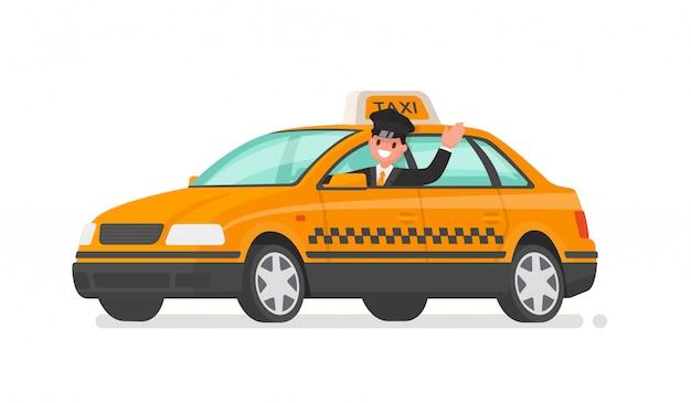 Motorista está dirigindo um carro de táxi. ilustração de táxi amarelo