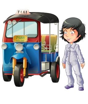 Motorista tailandês isolado do vetor e triciclo de motor.