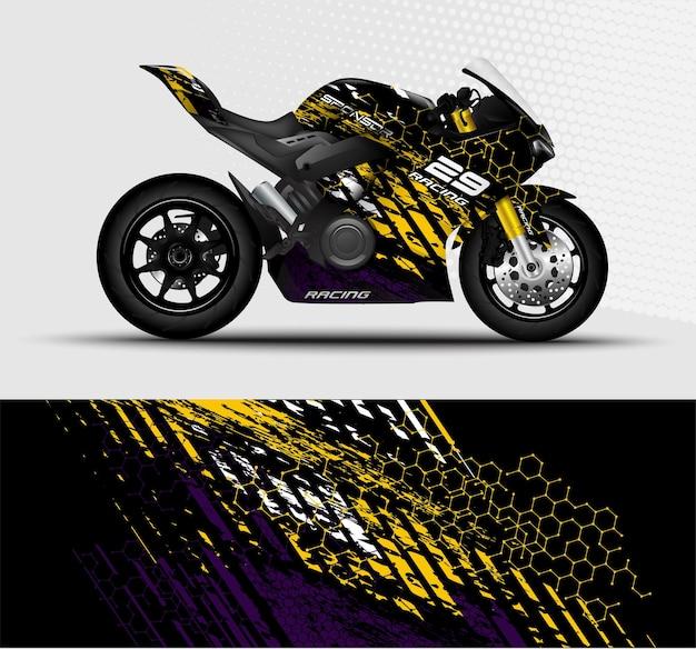 Motos esportivas envolvem listras de decalque de corrida com fundo abstrato