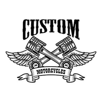 Motos personalizadas. molde do emblema com pistões alados. Vetor Premium