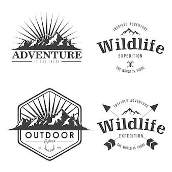 Mountain adventure logo simple design explorer emblema vector design set collection