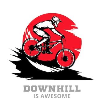 Mountain bike downhill com o piloto em uma bicicleta nas melhores cores preto, vermelho e branco