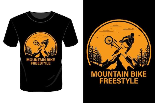 Mountain bike estilo livre t-shirt design vintage retro