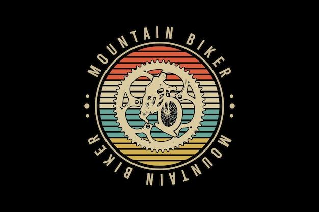 Mountain bike, ilustração de desenho à mão estilo vintage retrô