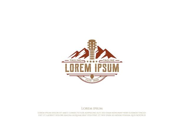 Mountain country guitar music western vintage retro saloon bar cowboy logo design vector