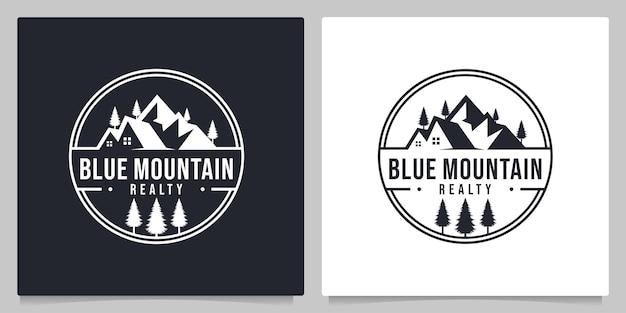 Mountain home real estate outdoor paisagem design de logotipo vintage