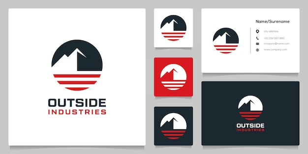 Mountain outdoor circle style landscape logo design with business card