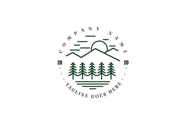 Mountain pine abeto cedar conifer cypress evergreen forest lake river creek logo design vector
