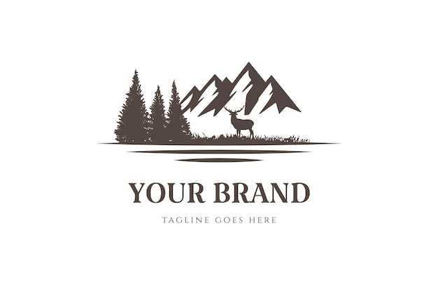 Mountain pine cedar conifer evergreen cypress hemlock larch fir forest lake river cree logo design