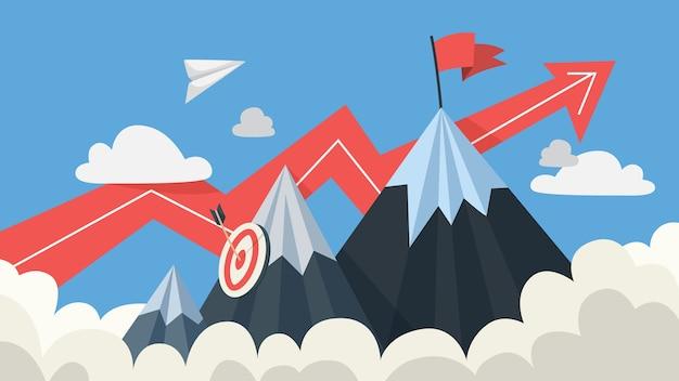 Mountaing como uma metáfora de objetivo e sucesso. bandeira no topo como motivação para o progresso dos negócios e carreira. plano