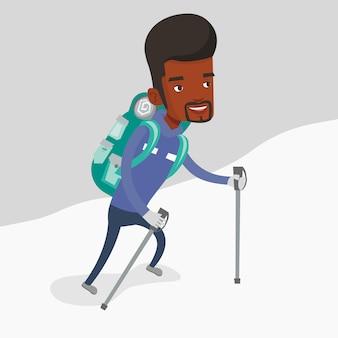 Mountaneer novo que escala um cume nevado.