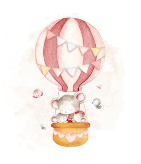 Mouse aquarela voando com balão de ar quente