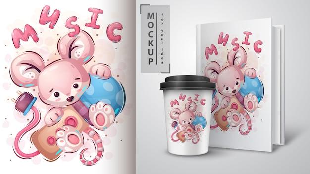 Mouse com poster de microfone e merchandising