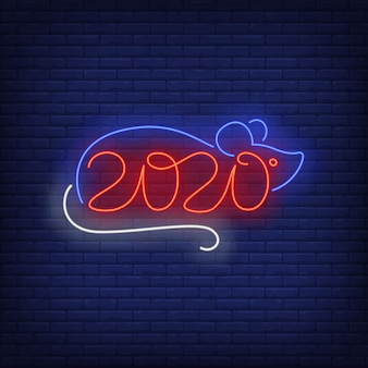 Mouse com sinal de néon de números