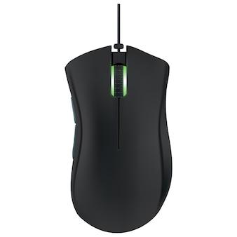 Mouse de computador moderno preto sobre fundo branco. ilustração vetorial