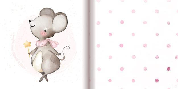 Mouse fofo com varinha mágica ao lado da impressão de fundo de padrão de pontos rosa