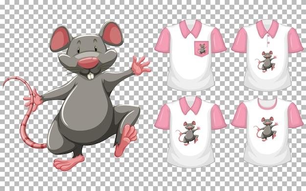 Mouse na posição de pé personagem de desenho animado com muitos tipos de camisas