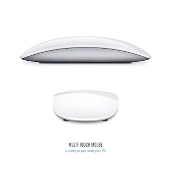 Mouse para vista lateral do computador e volta no fundo branco. ilustração conservada em estoque