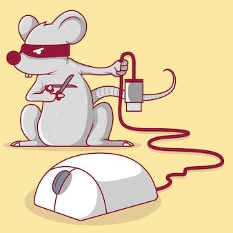 Mouse segurando uma tesoura cortando o cabo usb de uma ilustração de mouse.