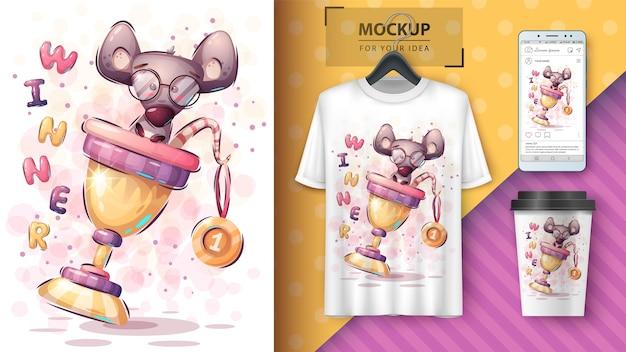 Mouse vencedor - pôster e merchandising