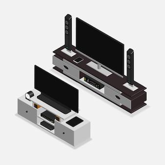 Móveis 3d realistas e eletrônicos
