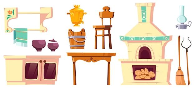 Móveis antigos de cozinha russa rural com forno, samovar, mesa, cadeira e pega.