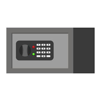 Móveis de aço plano de vetor seguro com fechadura digital isolada no fundo branco.