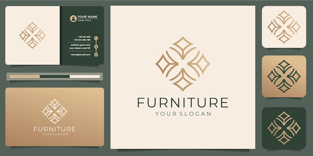 Móveis de arte de linha abstrata minimalista. estilo de design de logotipo, line.abstract, interior, monograma, modelo de design de mobiliário, ilustração, ícone e vetor de cartão de visita. vetor premium