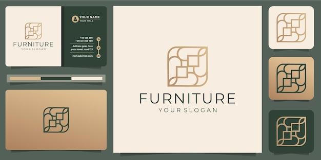 Móveis de arte de linha abstrata minimalista. estilo de design de logotipo, linha. abstrato, interior, monograma, mobiliário com cartão de visita