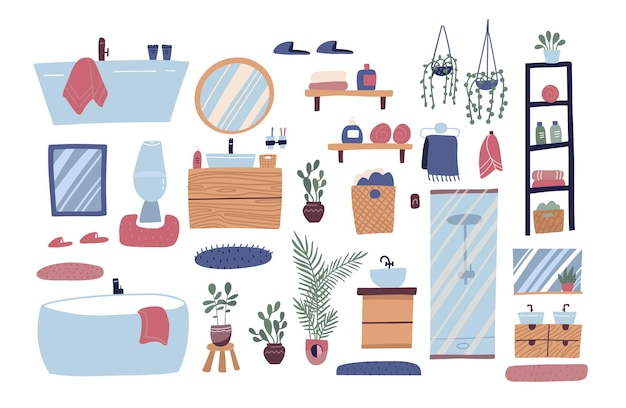 Móveis de banheiro com grande coleção de elementos de interior e produtos de higiene