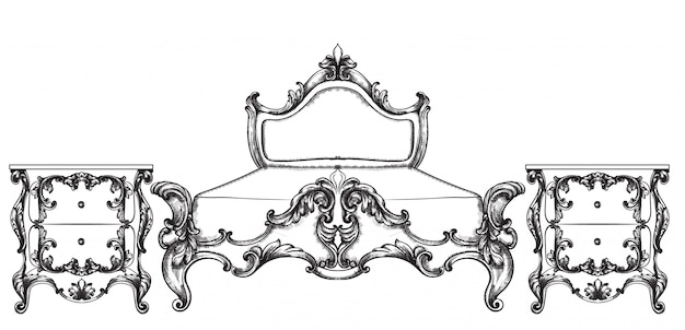 Móveis de cama barroca