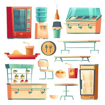 Móveis de cantina na escola, faculdade ou escritório