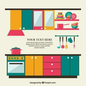 Móveis de cozinha coloridos