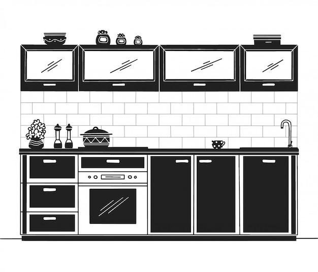 Móveis de cozinha de mão desenhada. ilustração no estilo de desenho