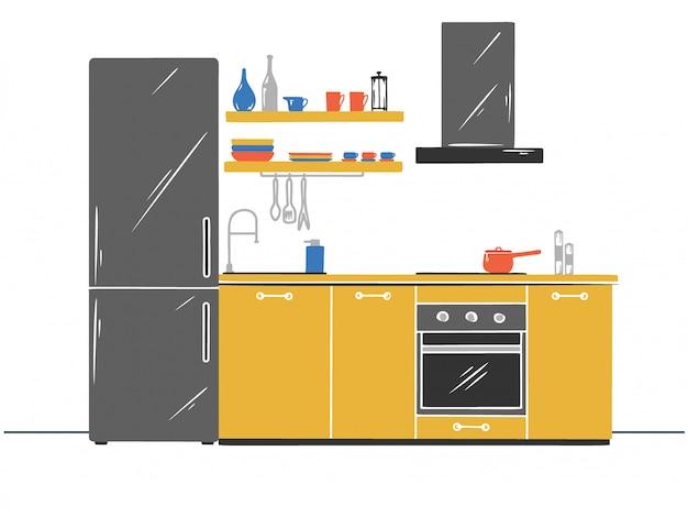 Móveis de cozinha de mão desenhada. ilustração vetorial no estilo de desenho.